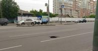 В Омске на улице Масленникова провалился асфальт