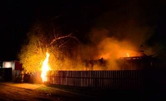 Из горевшего ночью в Омске частного дома спасли двух детей
