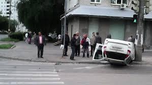 На Молодогвардейской перевернулся Hyundai