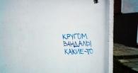 Вандалы разрисовали теплотрассу на улице Дианова в Омске