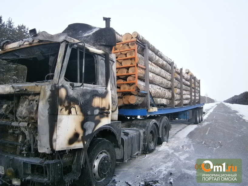 На трасcе Омск-Муромцево горела фура с древесиной