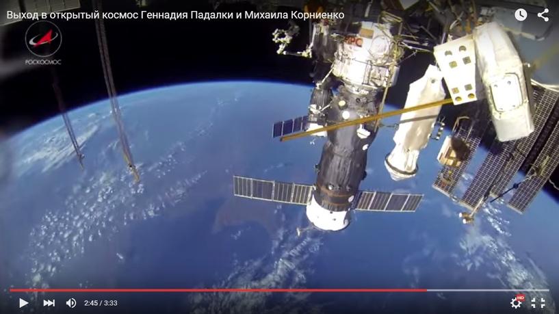 Роскосмос показал «космическую прогулку» Геннадия Падалки и Михаила Корниенко (видео)