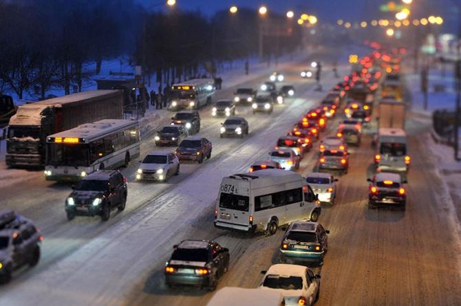 В Омске зафиксирована 6,5-часовая пробка