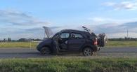 На трассе «Омск-Черлак» через крышу перевернулось авто