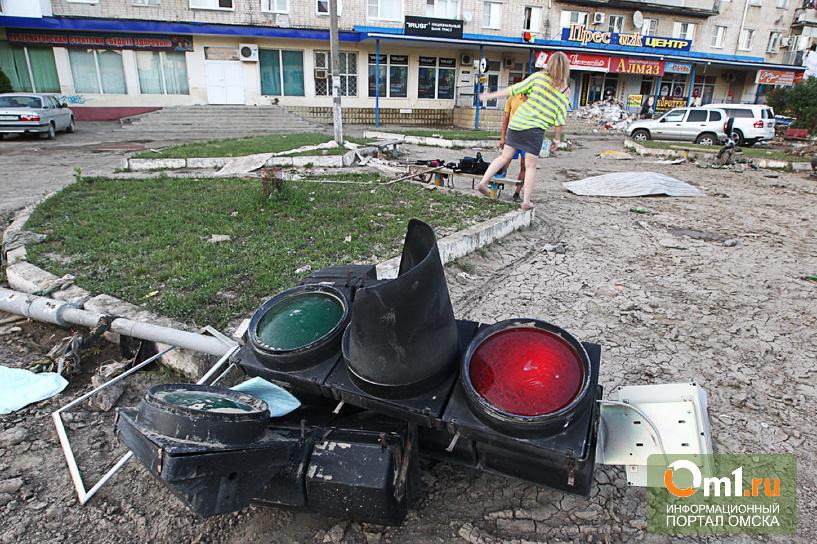 В Омске Priora вылетела на тротуар и снесла светофор