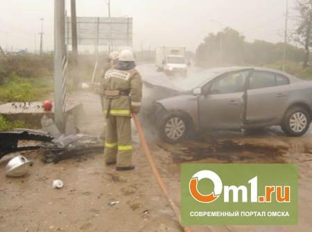 На трассе Омск - Калачинск сгорел автомобиль
