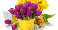 К 8 марта омичи заказывают для своих любимых тюльпаны в ведрах