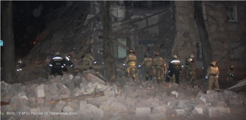 Из-за взрыва газа в Перми обрушился дом (видео)