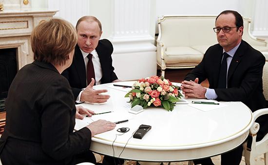 Путин, Меркель и Олланд пять часов обсуждали, как помирить Киев с ополченцами