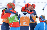 Сборная России заняла первое место в лыжной смешанной эстафете