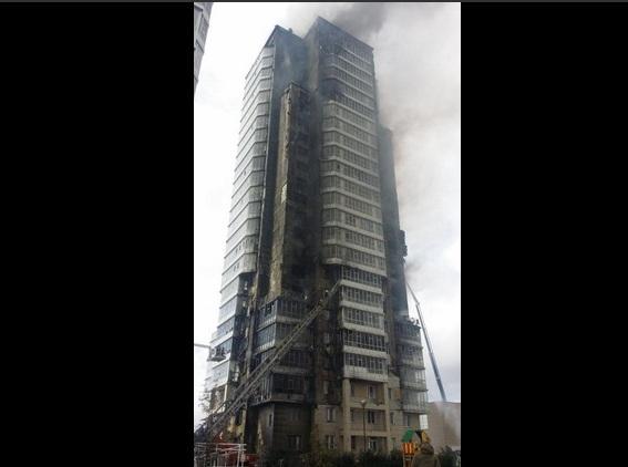 В центре Красноярска сгорел 25-этажный жилой дом