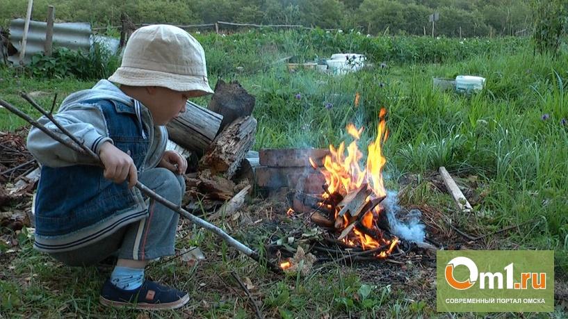 В Омске 4-летний мальчик залез в костер