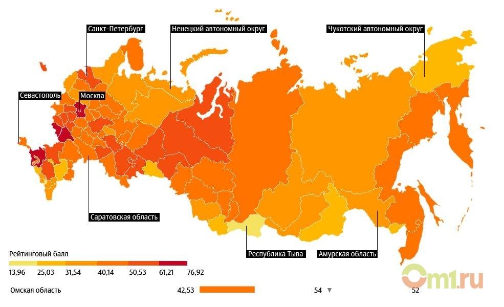 Лучшие ихудшие регионы для проживания граждан России