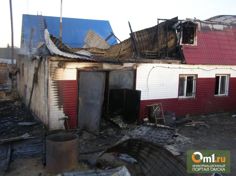 Пожар в Омской области уничтожил два частных дома и сарай