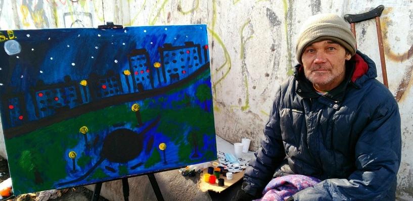 Омский бездомный мечтает подарить свою картину Путину