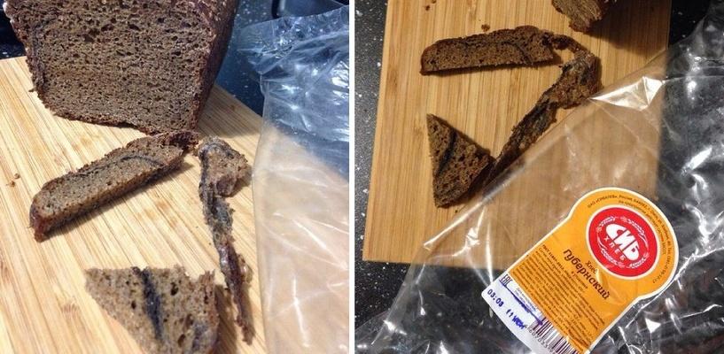 Омичка купила в магазине хлеб с тряпками внутри