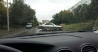 В Омске на улице Комкова произошло лобовое столкновение (фото)