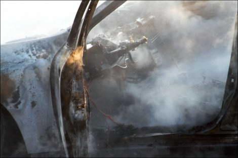 Ночью в Омске загорелась Toyota Platz