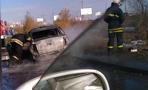 В Омске возле «Арены» сгорела «Лада Гранта»