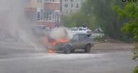 В Омске на дороге загорелась Daewoo Nexia