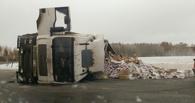 На трассе в Омской области опрокинулась на бок фура с печеньем