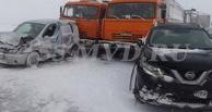 На трассе под Омском столкнулось сразу 17 автомобилей (фото)