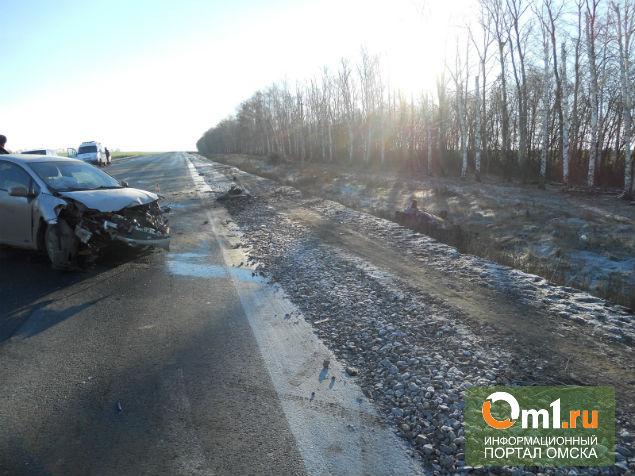 В Омской области на трассе Toyota Auris влетела под фуру
