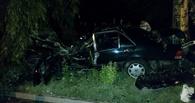 В Омске на Красном пути иномарка опрокинулась и врезалась в дерево