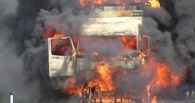 Ночью в Омске горел грузовик